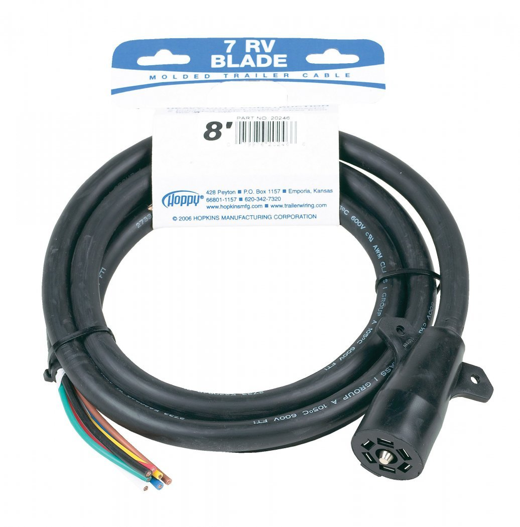 Hopkins 20246 8 7 RV Blade Molded Trailer Cable with Cardboard Wrap Package