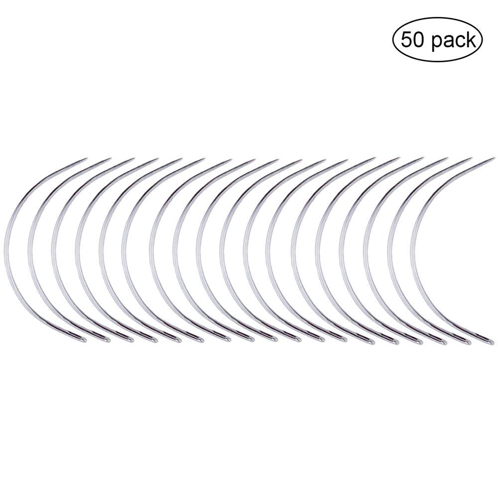 Wig Making Pins Needles Set for Wig Making C Curved Weaving Needle Modelling and Crafts Pincute 50 Pcs Weaving Needle Hair Weave Needle Blocking Knitting