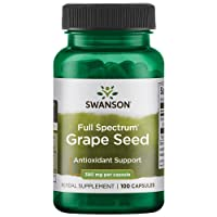 Swanson Grape Seed Heart Antioxidant Free Radicals Healthy Blood Pressure Support Polyphenols OPCS (Oligomeric Proanthocyanidins) Herbal Supplement 380 mg 100 Capsules (Caps)