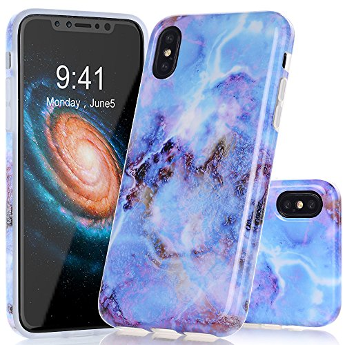 BAISRKE iPhone X Case, Light Blue Marble Creative Design Case Slim Flexible Soft Silicone Bumper Shockproof TPU Rubber Glossy Skin Cover for iPhone X XS [5.8 inch]