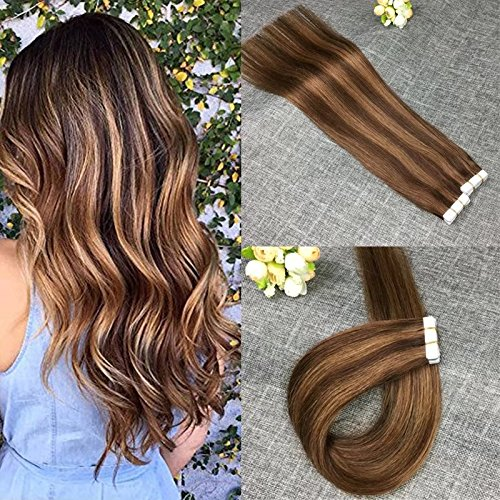 24 Inch 100% Remy Human Hair Tape in Extensions Two Tone Color #4 Dark Brown with #8 Light Brown Ombre 20pcs/50g Invisible Seamless Skin Weft Hair Extensions Tape on - Tone Winter Skin Colors