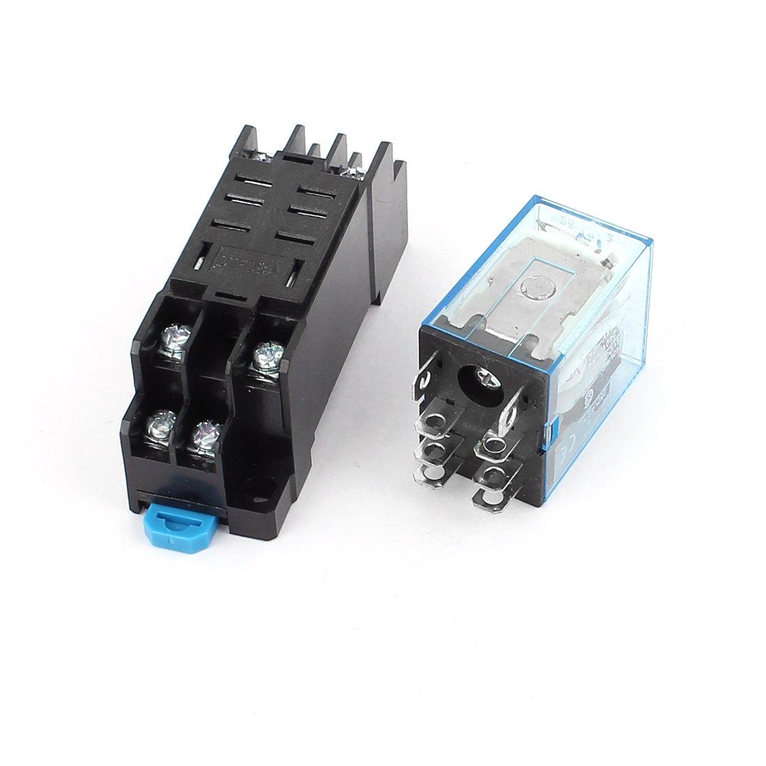 Sourcingmap Tension DC 24V Coil 8bornes 35mm Rail DIN Relais /électromagn/étique W Socket