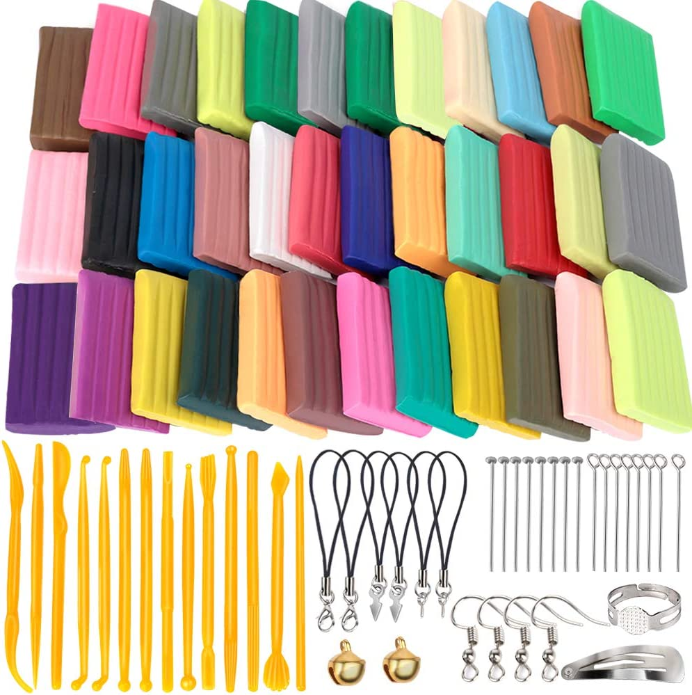 HNYYZL 36 Colors Polymer Clay, Oven Bake Clay DIY Modeling Craft Clay 20g/Pieces, 14 Sculpting Clay Tools, Accessories, and Paper Box, Perfect Clay Starter Kit for Kids & Adult, Stimulate Creativity