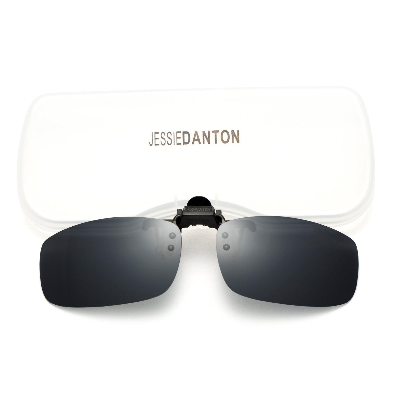 JESSIEDANTON Polarized Clip-on Flip Up Metal Clip Rimless Sunglasses for Eyeglasses, Lightweight, M Size, Black Lens by CAXMAN