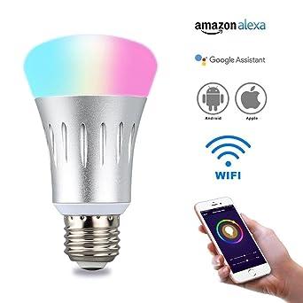 Bombilla de luz Echo inteligente, WiFi con 8 W de potencia, bombillas LED de