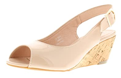 53b8939513c Comfort Plus New Womens Ladies Nude Patent Wide Fit Wedged Peep Toe Wedge  Sandals -