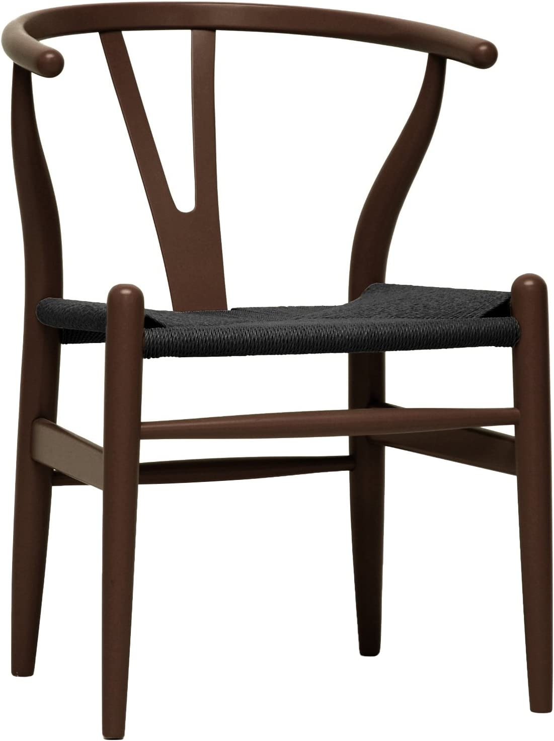 Amazon Com Baxton Studio Wishbone Chair Brown Wood Y Chair With Black Seat Furniture Decor