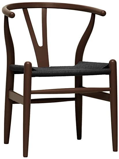 Baxton Studio Wishbone Chair/Brown Wood Y Chair With Black Seat