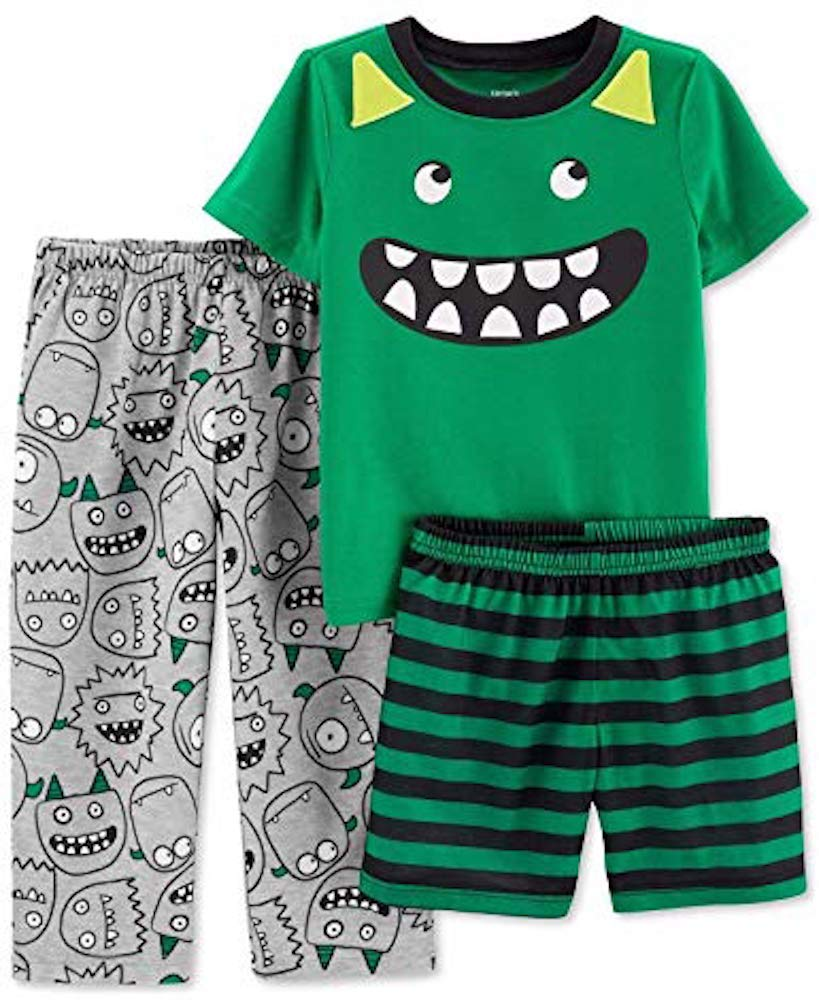 Carters Boys 3-Piece Poly Pajama Sets (Green/Monster, 6)