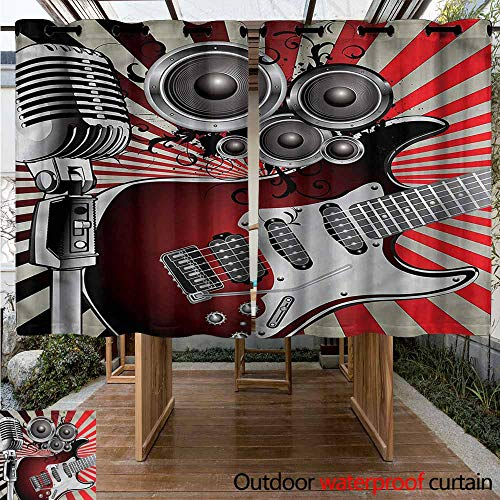 - Sunnyhome Doorway Curtain Music Old Vintage Loudspeaker for Patio/Front Porch W 55