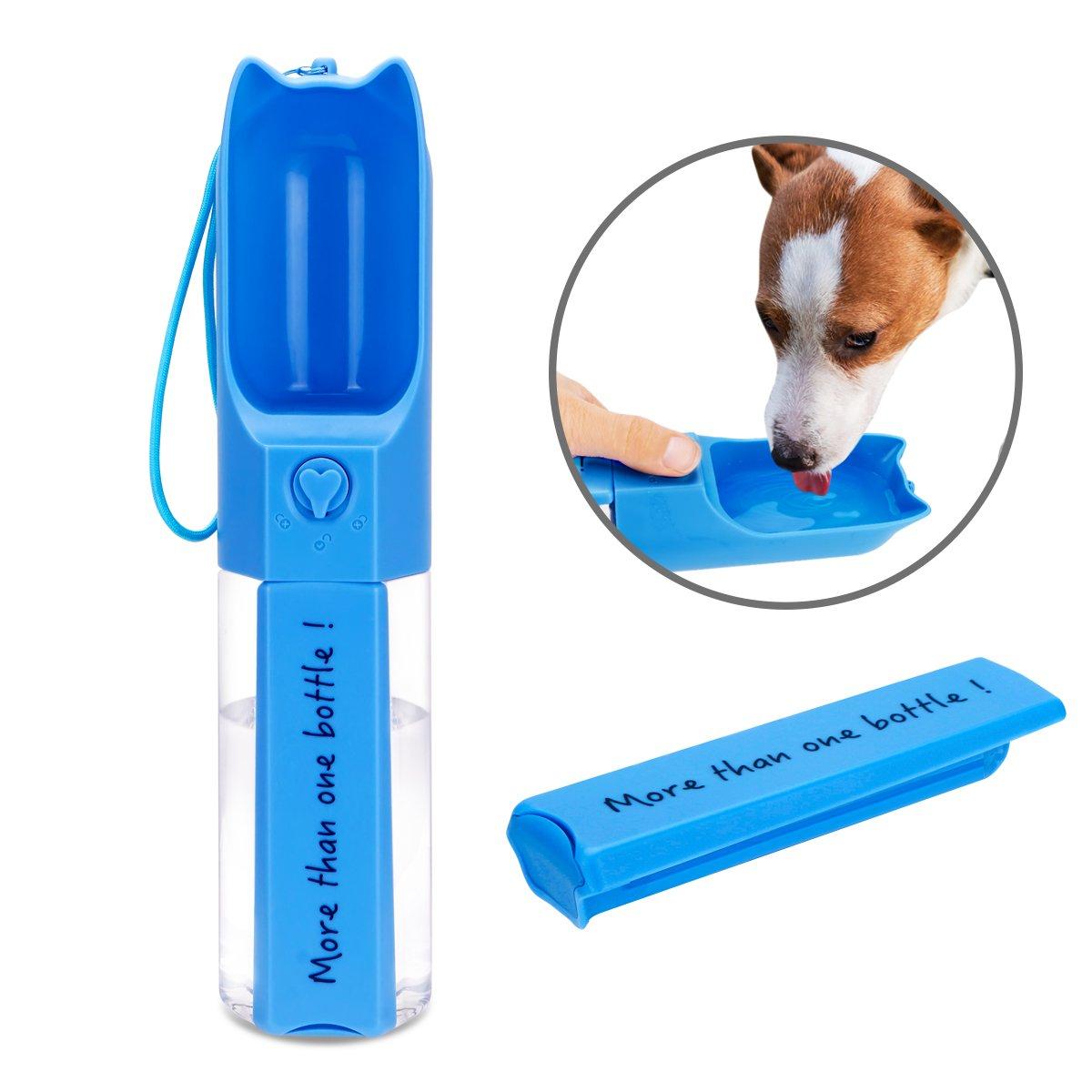 XUANRUS Dog Travel Water Bottle, Portable Pet Water Dispenser Drink Bottle Daily Walks, Hiking, Camping, Beach, BPA Free Plastic Pet Food Box … (Blue)