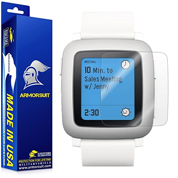 ArmorSuit Pebble Time Screen Protector (2 Pack) Full Coverage MilitaryShield Screen Protector for Pebble Time -HD Clear Anti-Bubble
