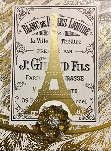 Punch Studio Brooch & Gold Foil Embellished Notepad ~ Marble Ivory Paris Eiffel Tower 61822