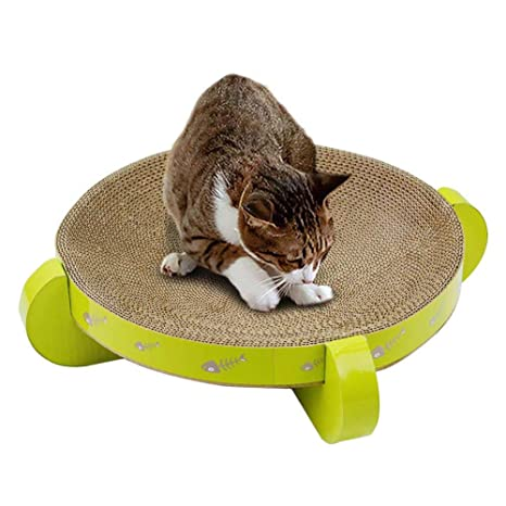 Waroomss Scratch Board Papel Corrugado Gato Scratch Board Cama para Gatos UFO Shaped Scratcher Juguetes para