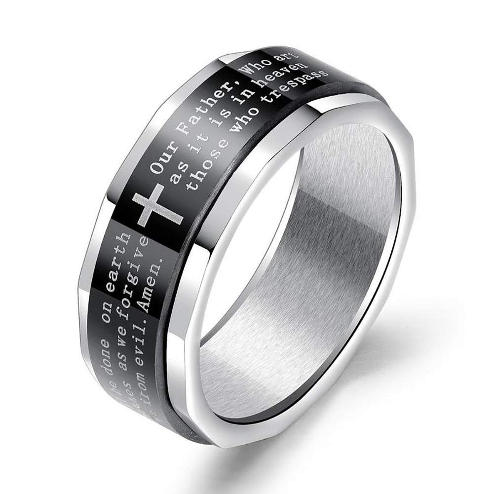 This is a Great, Affordable Rings! The Lord's Prayer is Molded into The Outside of This Ring with a Traditional Cross in The Center as Pictured.