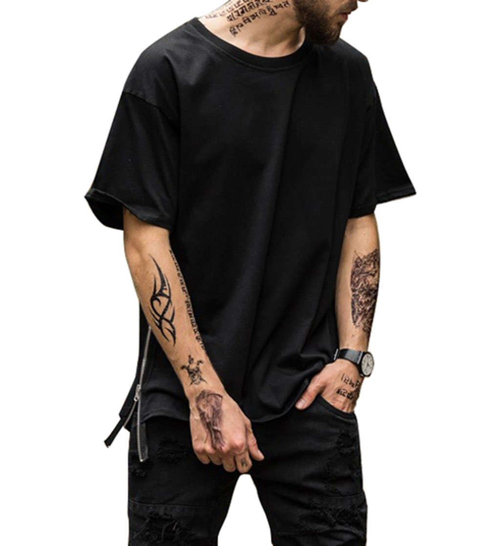 Mens Hip Hop Basic Crewneck Longline Round Hemline T-shirt with Side Zipper