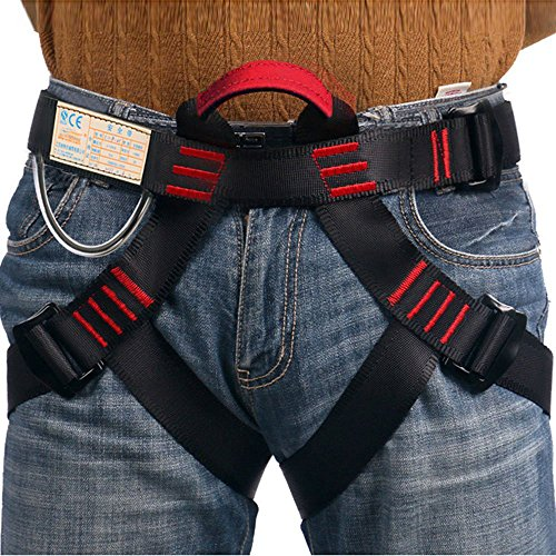 Climbing Harness,Half Body Guide Harness,Protect Leg Waist Wider Safe Seat Belts for Mountaineering Outward Band Fire Rescue Working on the Higher Level Caving Rock Climbing Rappelling Equip by Flowersea998