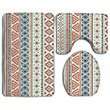 XsWu Bathroom Rug Tribal Mexican Style Aztec Patterned Retro Hand Drawn Design Abstract 3 Piece Bath Mat Set Contour Rug And Lid Cover