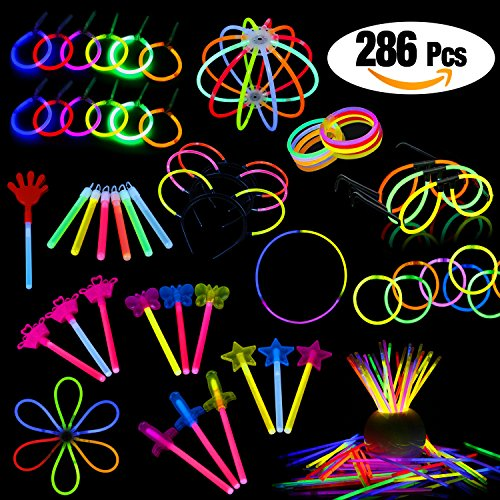 LaRibbons Glow Sticks Bulk,286Pcs Glow Stick for Birthday Party Favors Toy Assortment for Kids Game,School Classroom Rewards,Carnival Prizes - Carnival Assortment