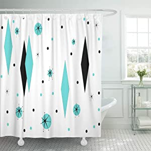 Semtomn Shower Curtain Waterproof Polyester Fabric 72 x 72 inches Customizable Retro Turquoise Diamonds Starbursts Color Mid Century Modern Set with Hooks Decorative Bathroom Curtains