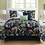 7 Piece Girls Floral Theme Comforter Set King Size, All Over Elegant Abstract Wild Flowers Pattern, Stylish Boho Chic Multi Color Motif Print, Hippy Indy Bohemian Style, Vibrant Navy Blue Pink Green