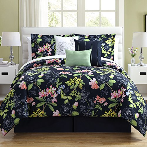 (7 Piece Girls Floral Theme Comforter Set King Size, All Over Elegant Abstract Wild Flowers Pattern, Stylish Boho Chic Multi Color Motif Print, Hippy Indy Bohemian Style, Vibrant Navy Blue Pink Green)