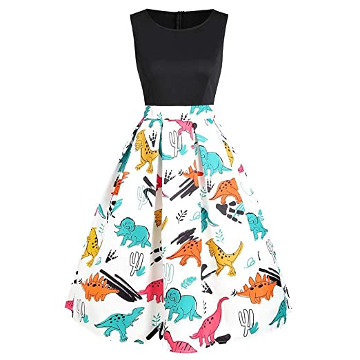 6db1c34558 POTO Women Dresses Summer Ladies Sleeveless Vintage Dress Party Dress  Dinosaur Printed Tank Dress Beach Dress