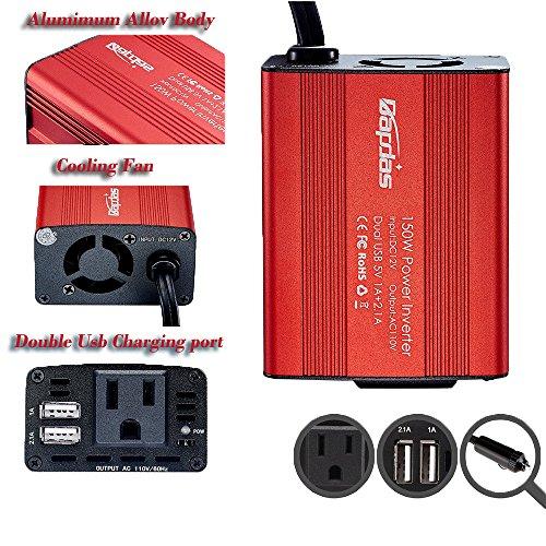 Bapdas 150W Car Power Inverter DC 12V to 110V AC Car Converter with 3.1A Dual USB Car Adapter-Red by Bapdas (Image #5)