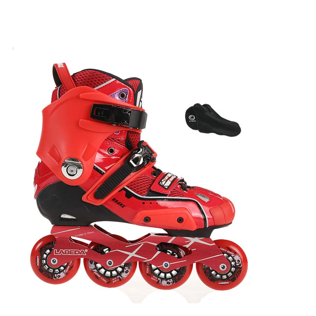 YANGXIAOYU Inline Skates, One-Piece Design Inline Skates Set Blue Red Suitable for Men and Women Boys Girls (Color : Red, Size : 38 EU/6 US/5 UK/24cm JP)