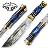 Beautiful Blue Wood 12.5'' Custom Handmade Damascus Steel Hunting Knife with Brass Spacers and Unique File Work On The Handel A Piece of Craftsmanship Limited Edition 100% Prime Quality