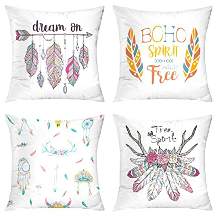 5a24b94907ed Boho Throw Pillow Covers,Set of 4 18X18 with Ethnic Arrow and Feathers Boho  Dream Free Spirit Hipster Fashion Blue Yellow Red Colorful Chic Summer ...