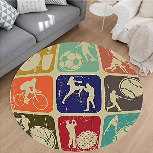 Nalahome Modern Flannel Microfiber Non-Slip Machine Washable Round Area Rug-ports Banners in Vintage Grunge Effect Tennis Soccer Bowling Sports Pub Theme Decor Multi area rugs Home Decor-Round 71'' by Nalahome