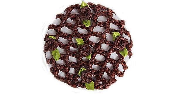 JUSTFOX - Red para moños, color marrón con flores.: Amazon.es ...