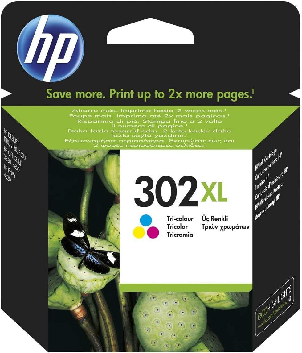 HP F6U67AE 302XL Cartucho de Tinta Original de alto rendimiento, 1 unidad, tricolor (cian, magenta, amarillo)