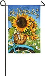 Evergreen Flag Happy Day Sunflowers Suede Garden Flag - 12.5 x 18 Inches Outdoor Decor for Homes and Gardens