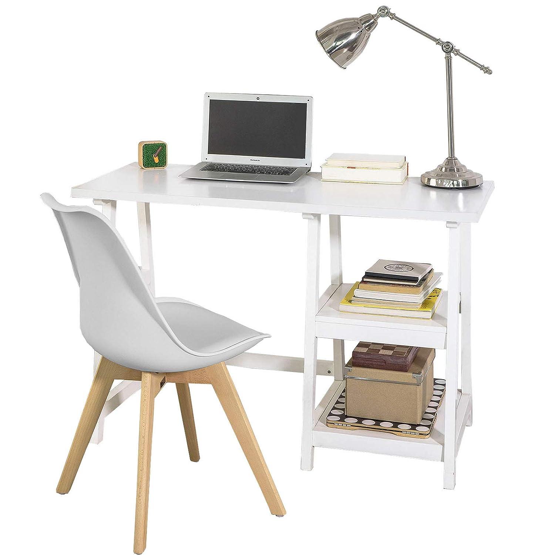 SoBuy Set de 1 Mesa de Escritorio y 1 Silla de Escritorio, FWT16-W ...