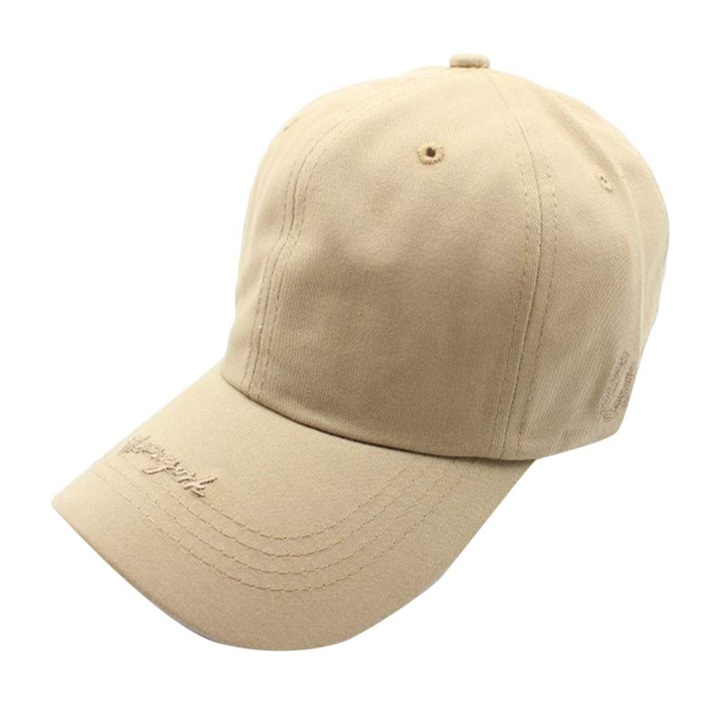 Pollyhb Womens/Men Adjustable Embroidered Baseball Caps Beige