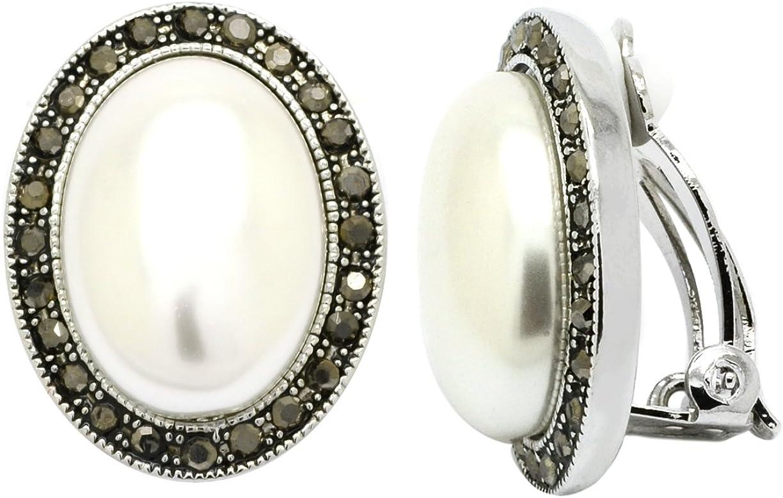 Pendientes de imitación de perlas con cierre de clip, ovalados, chapados en rodio y cristal, color negro