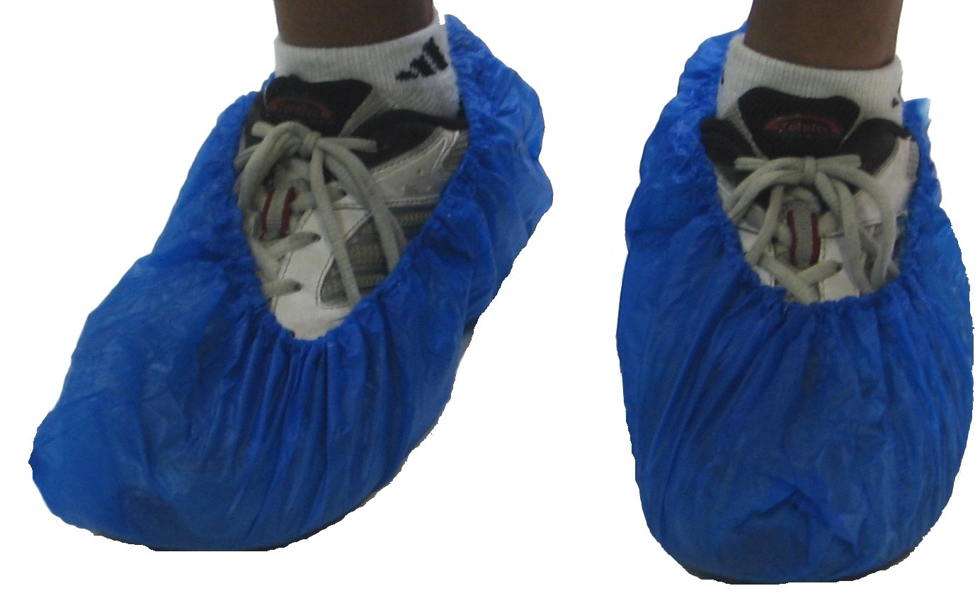 Blue CPE Polyethylene Shoe Covers Size EXTRA LARGE 100 Pieces by ArmorCrest (Image #1)