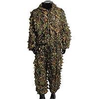 Geagodelia Ghillie - Traje de camuflaje con hojas 3D, 2 unidades, chaqueta con capucha + pantalones elásticos de cintura…