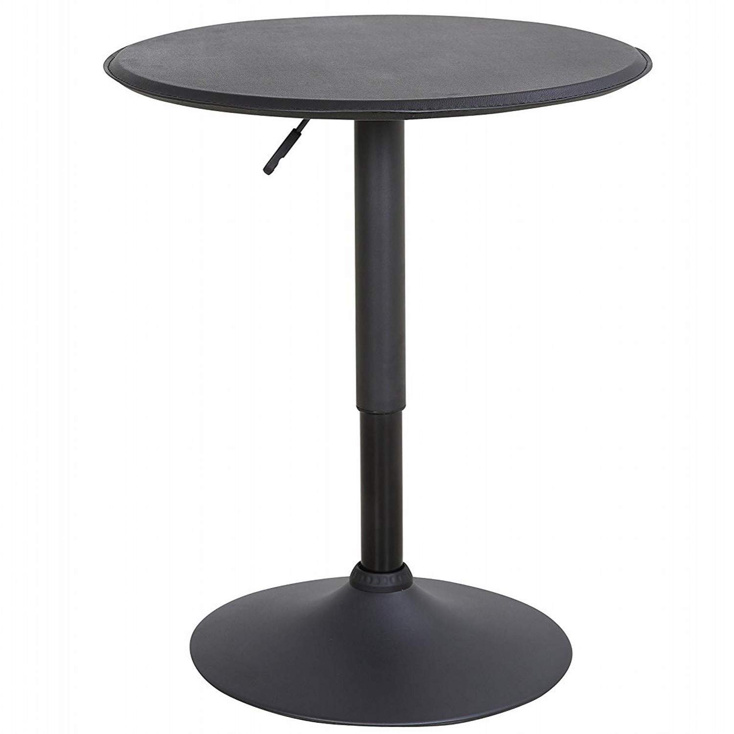 LCH 23.6'' PU Top Bar Table Adjustable Round Dining Kitchen Home Bar Pub Furniture, Black