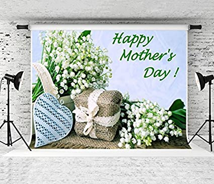 Kate 7x5ft Happy Mothers Day Backdrops For Photographer White Flowers Background Photo Studio Prop