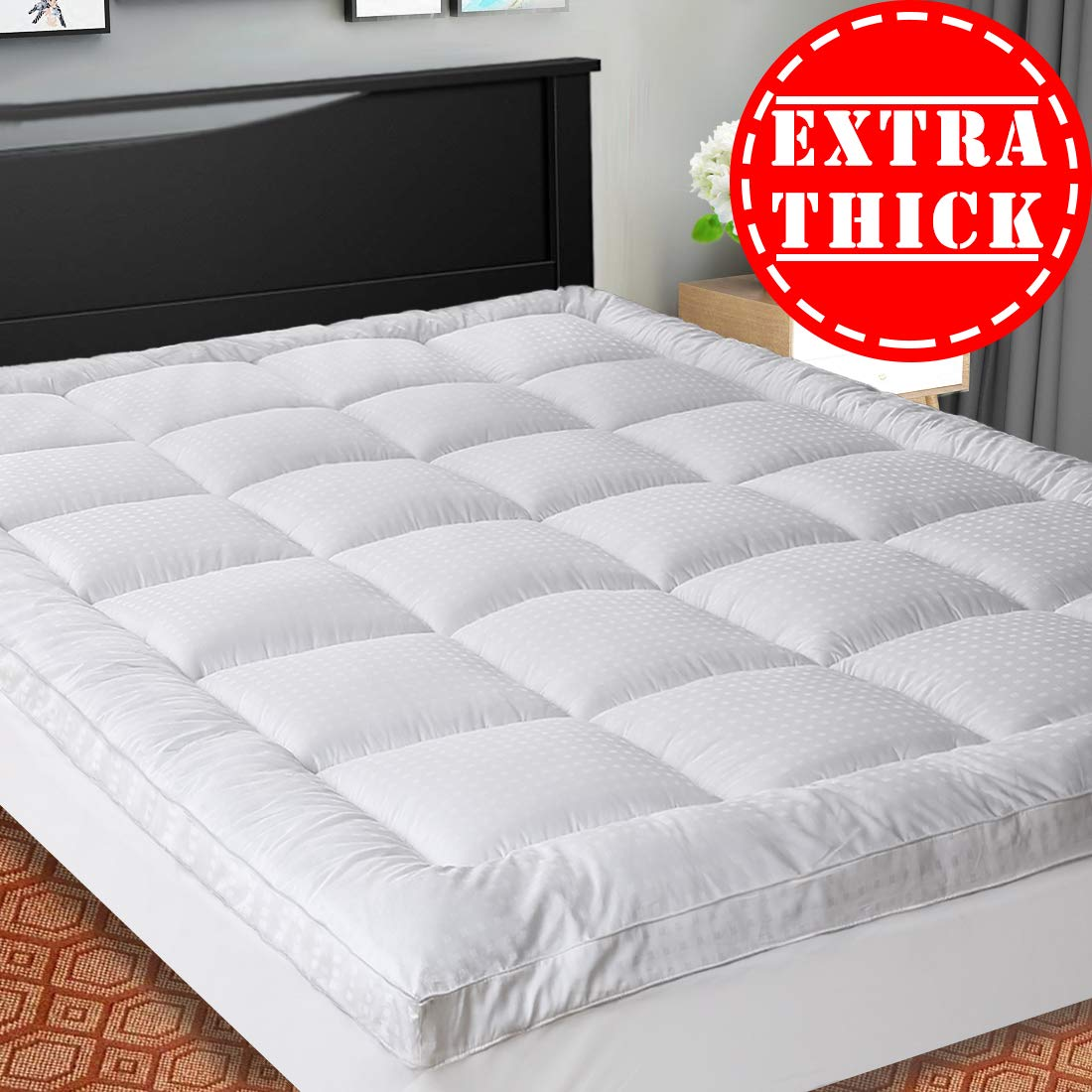 SOPAT Extra Thick Mattress Topper (Queen),Cooling Mattress Pad Cover,Pillow Top Construction (8-21Inch Deep Pocket),Double Border,Down Alternative Fill,Breathable by SOPAT