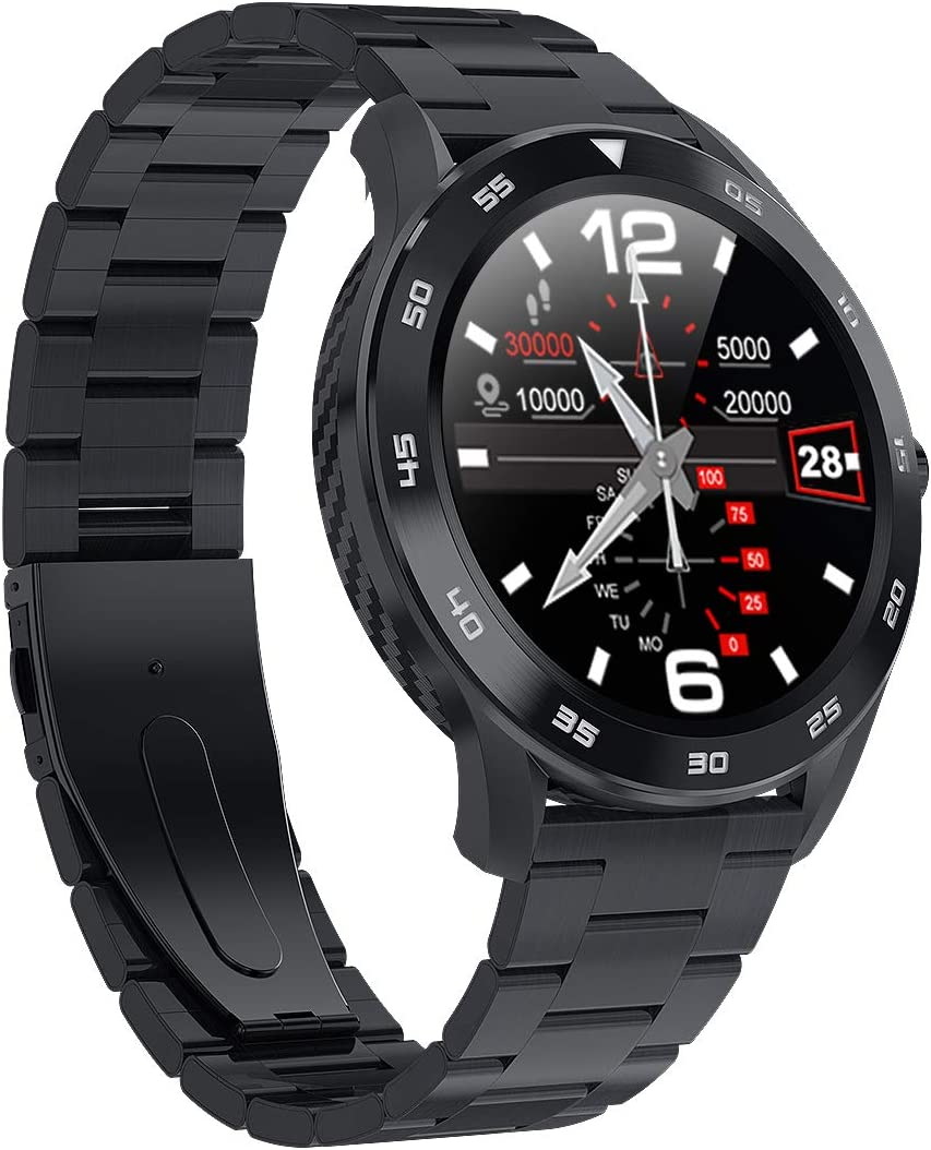 DS98 Mens Smart Watch Fitness Smartwatch Sports Activity Tracker Watch with Dual-HR Heart Rate Blood Pressure Oxygen Rate SpO2 Monitor IP68 Waterproof Can Make Bluetooth Calling BLK-M Black-M