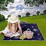 "My Little Nest Outdoor Camping Picnic Beach Blanket Mat Cute Anchors Sailboat Lightweight Portable Folding Travel Pad 57"" x"