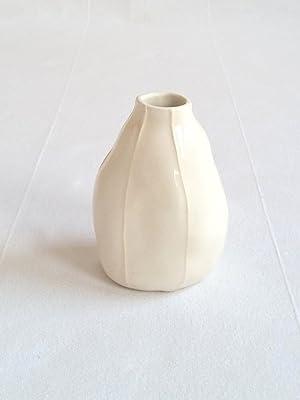 VIT ceramics bud vase. Handmade oganic pear shape. Natural white with raised white stripes