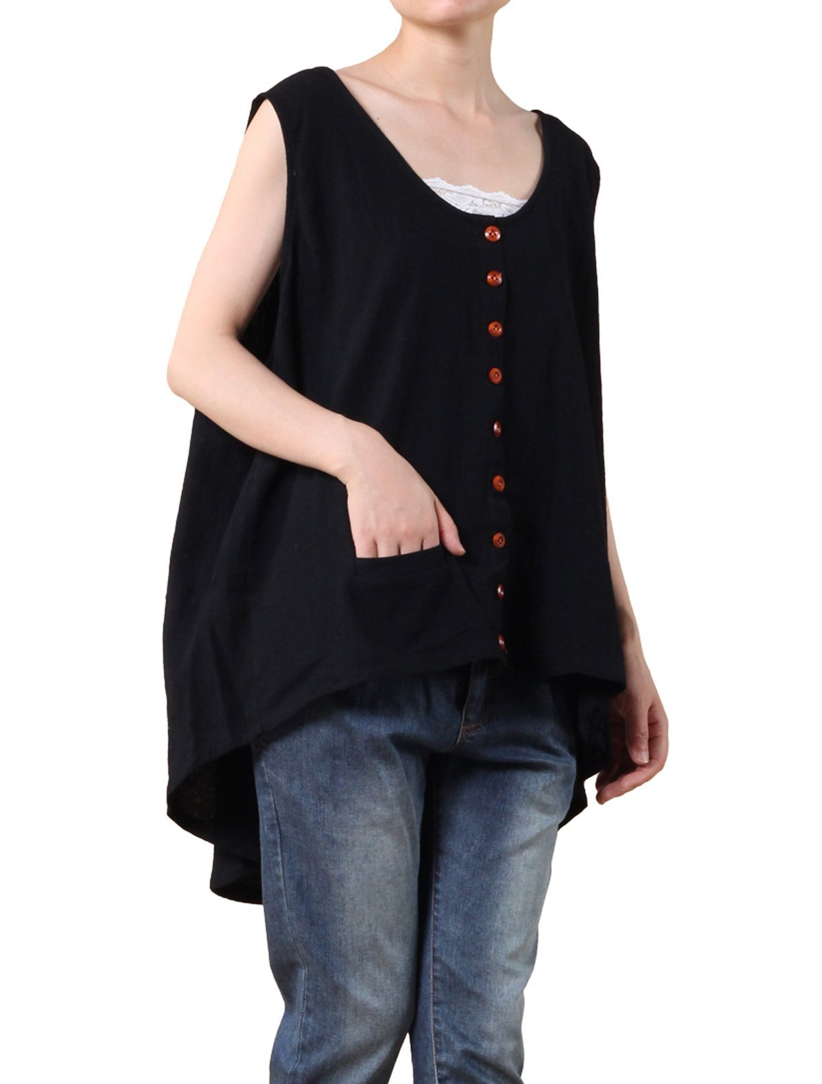 Mordenmiss Women's Sleeveless Hi-Low Vest Tops Lightweight Jacket with Pockets Style 1 L Black