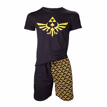 NINTENDO Legend of Zelda Shortama ropa de dormir Set (Grande, Negro / Oro)