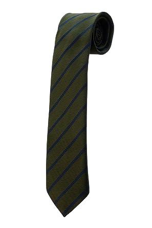 Oh La Belle Cravate Corbata verde caqui de rayas azules Design ...