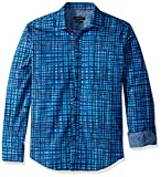 Bugatchi Men's Cotton Shaped Fit Delmon Button Down, Turquoise, S